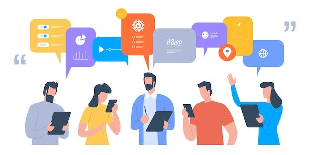 Geschäftsleute diskutieren über soziale netzwerke, nachrichten und soziale netzwerke