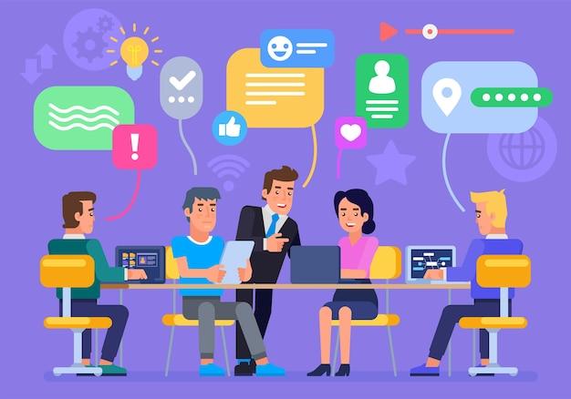 Geschäftsleute diskutieren über soziale netzwerke