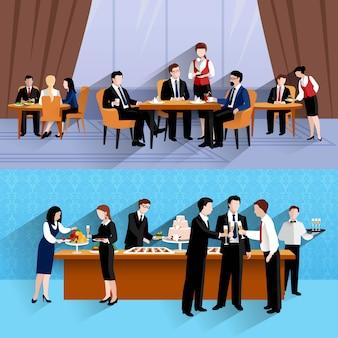 Geschäftsleute essen bei der arbeit zwei horizontale fahnen zu mittag