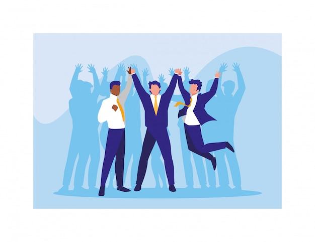 Geschäftsleute feiern erfolg, erfolgreiches geschäftsteam