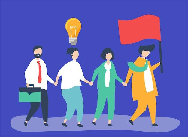 Geschäftsleute folgen dem marktführer, um einen neuen markt zu finden