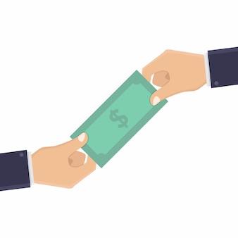 Geschäftsleute geben geld an andere geschäftsleute Premium Vektoren