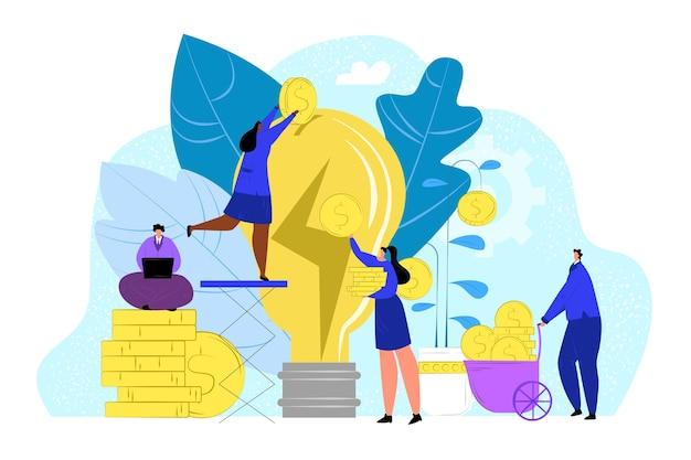 Geschäftsleute geben geld für das designkonzept einer flachen idee