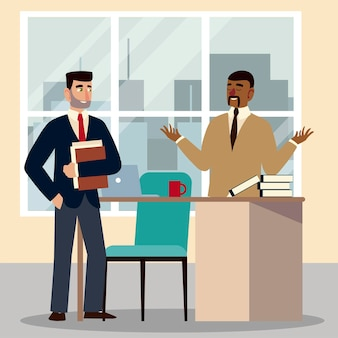 Geschäftsleute, geschäftsleute mit büchern und dokumenten, die im büro arbeiten