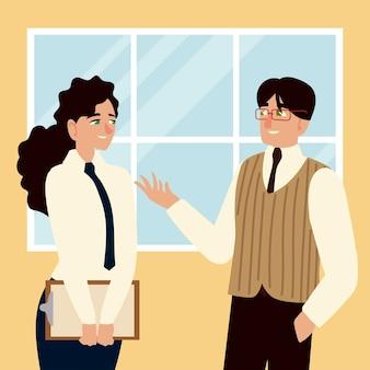 Geschäftsleute, geschäftsmann, der mit weiblicher angestellter spricht