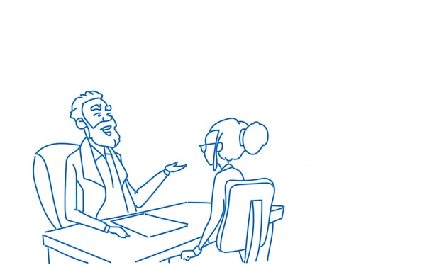 Geschäftsleute gesprächsinterviewkommunikation der mannfrau sitzendes schreibtischskizzengekritzel