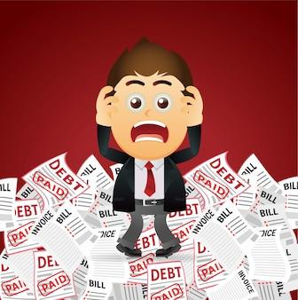 Geschäftsleute gestressten mann mit viel rechnung