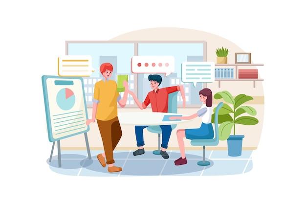 Geschäftsleute gruppe chat kommunikationsblase