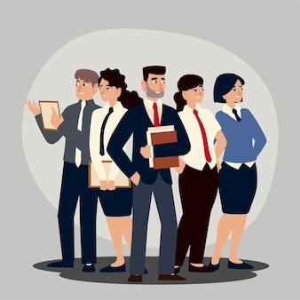 Geschäftsleute, gruppe von geschäftsleuten und geschäftsfrauencharakter-karikatur