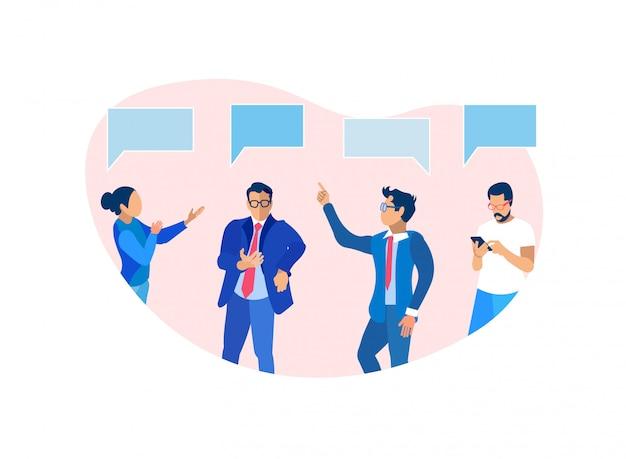 Geschäftsleute gruppieren das in verbindung stehen und gedanklich lösen