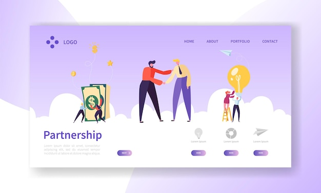 Geschäftsleute händeschütteln, partnership deal handshake landing page.