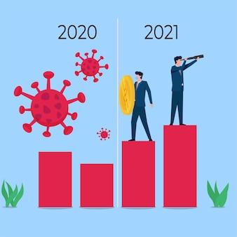 Geschäftsleute halten das virus in der hand und analysieren die zukünftige metapher der wirtschaft nach einer pandemie.