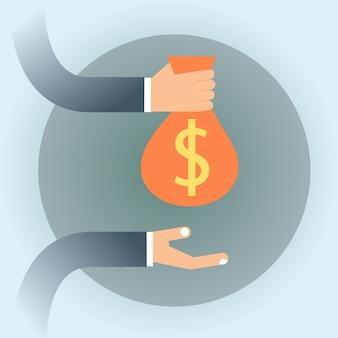 Geschäftsleute hand halten geldsack mit dollar-zeichen