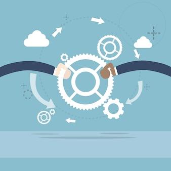 Geschäftsleute handgriff-zahnrad-teamwork-zusammenarbeit