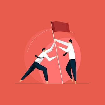 Geschäftsleute hissen gemeinsam ein flaggenkonzept, zielerreichung