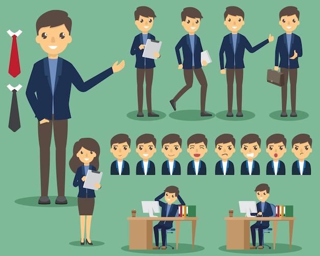 Geschäftsleute im büro eingestellt. posieren und emotionen. geschäft in der verschiedenen haltung im büro und im arbeiten.