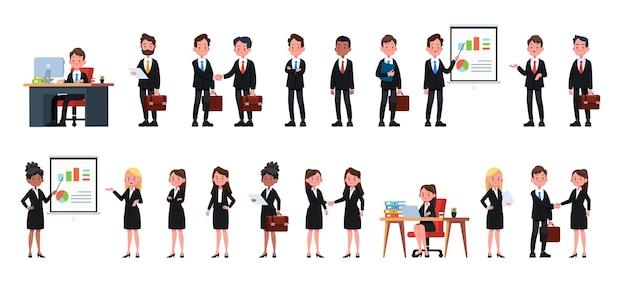 Geschäftsleute im büro eingestellt. vektorillustrationsdesign
