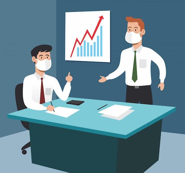 Geschäftsleute im büro treffen sich mit dokumentenstrategie