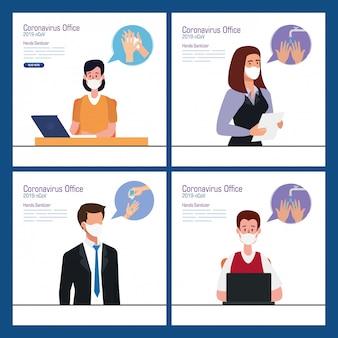 Geschäftsleute im büro und händedesinfektionsmittel