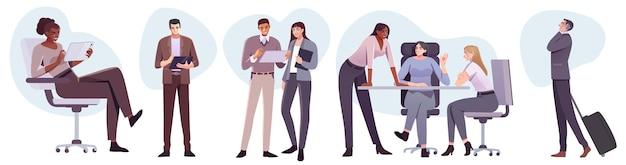 Geschäftsleute im flachen stil am arbeitsplatz männliche und weibliche personen im büroraum