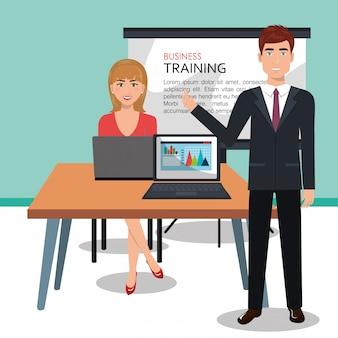 Geschäftsleute im trainingsprozess isoliert icon-design