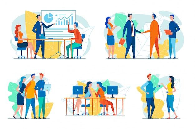 Geschäftsleute in arbeitssituationen festgelegt