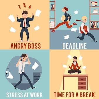 Geschäftsleute in chaosbürosituationen quadratische illustrationen setzen karikaturstil