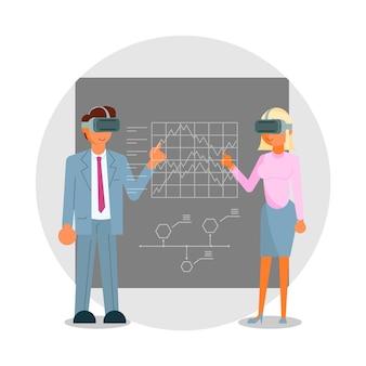Geschäftsleute in headsets, die die vr-schnittstellenillustration berühren, virtuelle realitätssimulationsausbildung