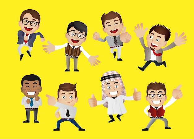 Geschäftsleute in siegesfeier und leistungsposen