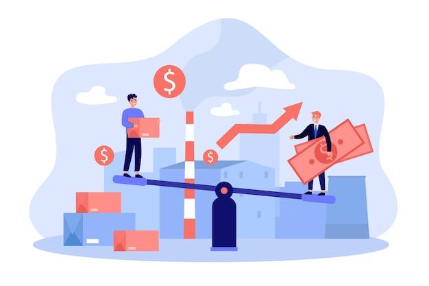 Geschäftsleute investieren geld in lokale fabrik mit wachsender wirtschaft. investoren balancieren auf wippe mit bargeld und kreditkarte