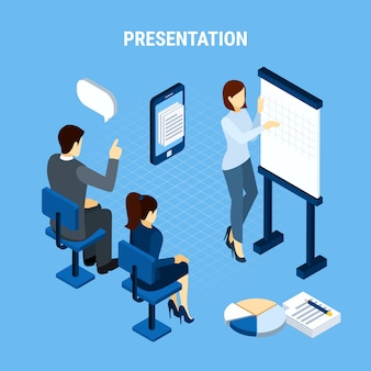 Geschäftsleute isometrisch mit infografischen piktogrammelementen dachten blasen und büroteammitgliedervektorillustration