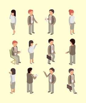 Geschäftsleute isometrische gruppe