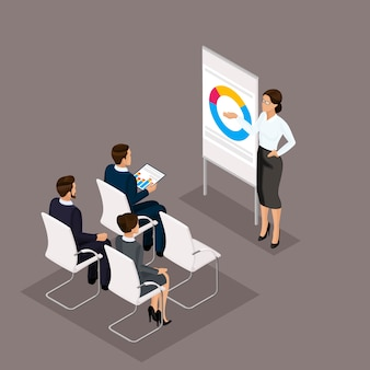 Geschäftsleute isometrischer satz frauen mit den männern, training, trainer im büro lokalisiert auf einem dunklen hintergrund