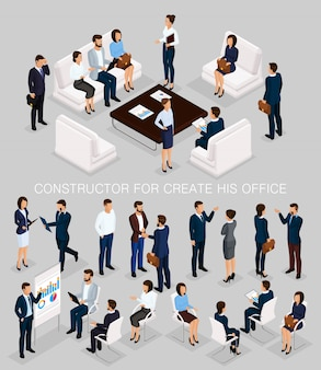 Geschäftsleute isometrischer satz, zum seines illustrationsmeetings herzustellen