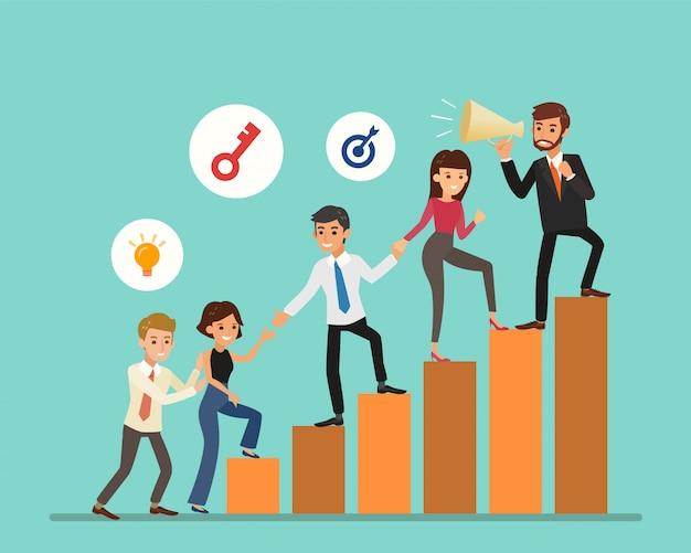 Geschäftsleute-karikatur, die auf grafik klettert. karriereleiter mit charakteren. teamarbeit, partnerschaft, führungskonzept. illustration.