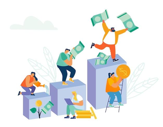 Geschäftsleute klettern auf finanzdiagramm