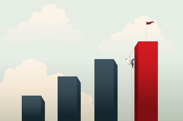 Geschäftsleute klettern eine klippe auf einem seilpfad zum ziel oder zur erreichung des geschäftsziels und der motivation