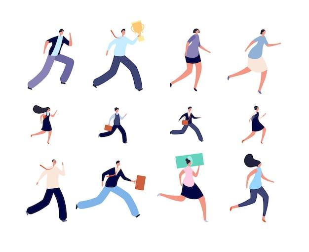 Geschäftsleute laufen. aktive eilige person, eilige kinderstudentencharaktere. isolierte laufende büroperson, läufer zur arbeit oder zum studium des vektorsatzes. geschäftsleute beeilen sich, sieger mit pokalillustration