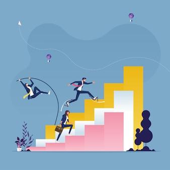 Geschäftsleute laufen und springen an die spitze der diagrammleisten - wettbewerbskonzept