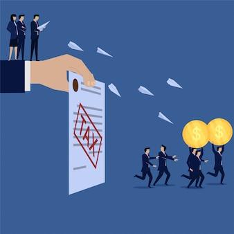 Geschäftsleute laufen von warnpapier und flugzeugsteuer