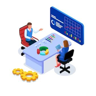 Geschäftsleute machen kommunikation, geschäftsanalyse am arbeitsplatz.