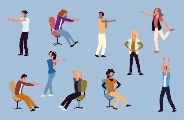 Geschäftsleute machen stretching