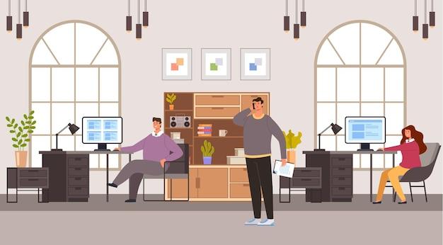 Geschäftsleute mann frau büroangestellte charaktere arbeiten im büro. bürolebenskonzept.
