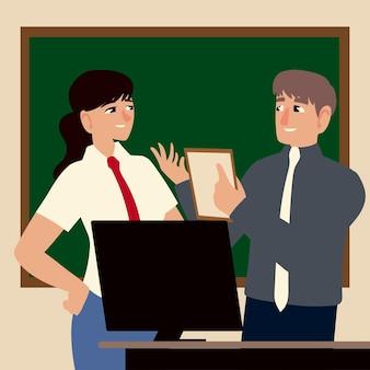 Geschäftsleute, mann und frau, die computer und papier arbeiten