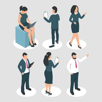 Geschäftsleute mit bürosymbolen