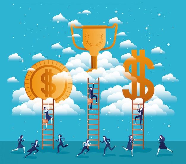 Geschäftsleute mit erfolg stellen icons in den himmel