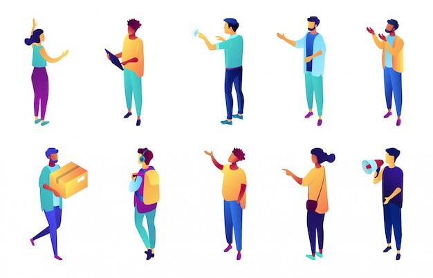 Geschäftsleute mit erhabener hand, die isometrischen 3d-illustrationssatz zeigt.