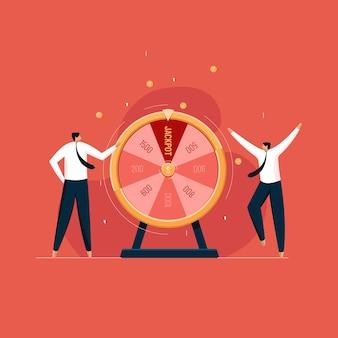 Geschäftsleute mit finanziellem glücksrad glücksspiel und glücklichem gewinnerkonzept
