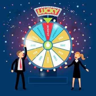 Geschäftsleute mit finanziellem glücksrad. glücksspielkonzept. zufall und risiko, erfolg und gewinn, spiel und geld.