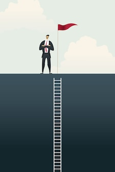 Geschäftsleute mit flagge auf stehendem balkendiagramm oben über zielen, erfolgsleiterkonzept.